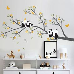 "[ITEM NO. W10026] Pandas on branch wall decal with Flowers Set Size : 94""w x 56""h (approx.) [SET INCLUDED] >2 Pandas > Branch > Leaves > Flowers >4 Birds [COLOR SHOWN LISTING] > Pandas : White and Black > Branch : Dark Grey > Leaves : Olive, Celadon > Flowers and Birds : Signal Yellow"