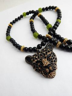 Panther Necklace African Black Panther Jewelry Cheetah Green Gold Beaded by TheBlackerTheBerry