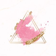Gold triangle frame on pink watercolor background vector | premium image by rawpixel.com / Aum / sasi Triangle Background, Flower Background Wallpaper, Glitter Background, Cute Wallpaper Backgrounds, Logo Background, Flower Backgrounds, Watercolor Background, Cute Wallpapers, Beauty Background