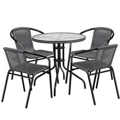 MFO 28'' Round Glass Metal Table with Gray Rattan Edging and 4 Gray Rattan Stack Chairs