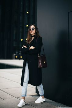 How to dress effortlessly chic when shopping featuring classic black coat and Stan Smith sneakers