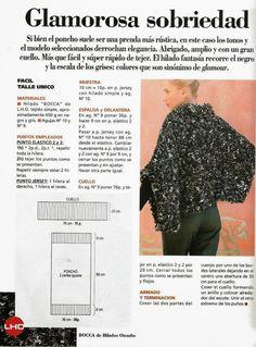 Poncho crochet glamour y sobriedad - Patrones Crochet