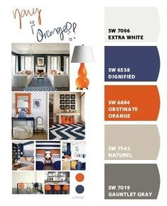 Perfect color palette for his big boy room! (Chip It! by Sherwin-Williams – ChipCard by Amy S. Love the blue and orange to accent the boys bathroom! Orange Boys Rooms, Living Room Orange, Bedroom Orange, New Living Room, My New Room, Bedroom Black, Baby Room Colors, Room Paint Colors, Paint Colors For Living Room
