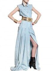 BALMAIN Stud and crystal-embellished denim gown thumbnail 3