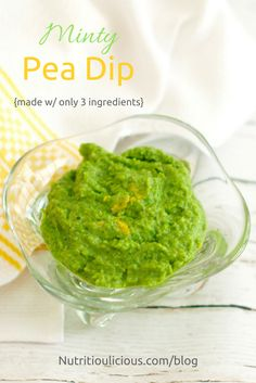 Minty Pea Dip | This bright and refreshing dip is quick and easy to make, requires only three ingredients, and can be used in a variety of ways. Vegan, vegetarian, dairy-free, and gluten-free. Recipe @jlevinsonrd.