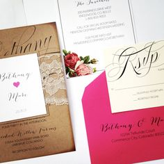 Rustic Lace Wedding Invitations BARNYARD CHIC by ChampagnePress These look.pretty cool, could check it out