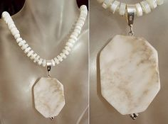 White Marble Removable Pendant c/w White Sea Shell by camexinc, $30.00