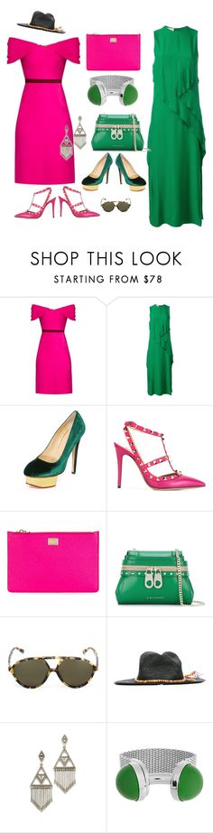 """Perfect matching..."" by jamuna-kaalla ❤ liked on Polyvore featuring Emilio De La Morena, Cédric Charlier, Charlotte Olympia, Valentino, Dolce&Gabbana, Twin-Set, Sensi Studio, House of Harlow 1960, Balenciaga and vintage"