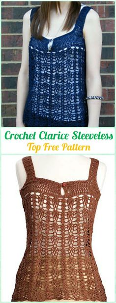 Crochet Clarice Sleeveless Top Free Pattern - Crochet Women Pullover Sweater Free Patterns