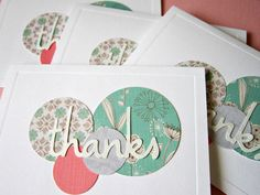 Handmade Thank You Card 4 pack by shellsmark on Etsy