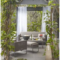 Shop Dune Taupe Sofa with Sunbrella ® Cushions. Sofa includes seat and back cushions with Sunbrella acrylic covers, weather-resistant rain or shine. The Dune Taupe Sofa with Sunbrella ® Cushions is a Crate and Barrel exclusive. Outdoor Rooms, Outdoor Sofa, Outdoor Living, Outdoor Furniture Sets, Outdoor Decor, Outdoor Curtains, Porch Furniture, Outdoor Seating, Outdoor Ideas