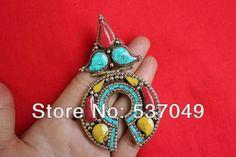 Tibetaanse sieraden handgemaakte sieraden grote messing tibet turquoise koraal hanger ketting(14000595) in van op Aliexpress.com