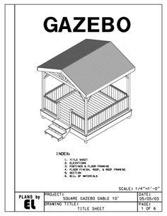 Gazebo Gable Roof Building Plans Blueprints Do It Yourself DIY