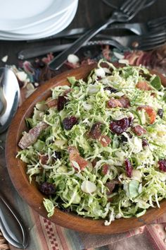 Bacon Cranberry Shaved Brussels Sprouts Salad