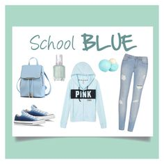 """School blue"" by tally-stew ❤ liked on Polyvore featuring Converse, Essie and River Island"