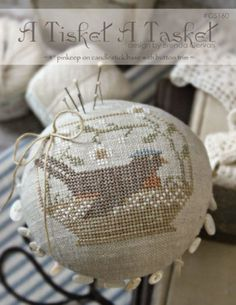 A Tisket A Tasket is the title of this cross stitch pattern from With Thy Needle and Thread that is stitched with Weeks Dye Works
