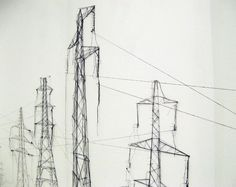 Debbie Smyth, 'pins and threads' (electrical pylons).
