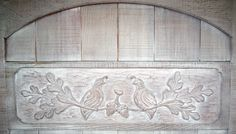 Detail of a Redwood Gate with Carving of Quail & Rose