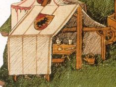 Bern, Burgerbibliothek, Mss.h.h.I.1 Diebold Schilling Sr.: Amtliche Berner Chron... -   # Medieval Market, Medieval Life, Diy Tent, Canopy Tent, Camping Life, Tent Camping, Medieval Banquet, Medieval Furniture, Camping Furniture