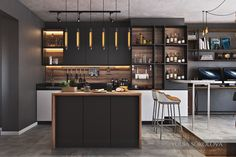 Fabulous small kitchen design with industrial style.