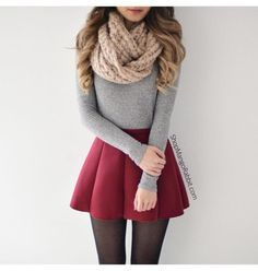 skirt scarf leggings cute pretty fall outfits sweater