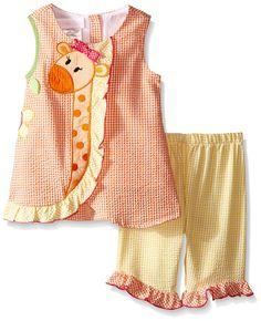 Amazon.com: Bonnie Baby Baby Girls' Giraffe Appliqued Seersucker Playwear Set: Clothing
