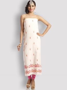 """A total essential for every Indian fashionista, in this off white cotton chikankari kurta, a perfect union of traditional and contemporary styles. Pair it with matching leggings and footwear to complete your classy Indian """"diva"""" look. Product No.- 1451 [₹ 2,250]"""