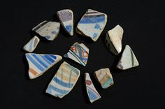 Delftware, some with manganese purple found mudlarking on Thames foreshore