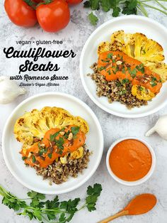 Cauliflower Steaks with Romesco Sauce are a deliciously flavorful dinner dish. They're perfect for date nights, dinner parties, holidays, or any time you want to change up your usual dinnertime meal rotation. They're vegan and gluten-free