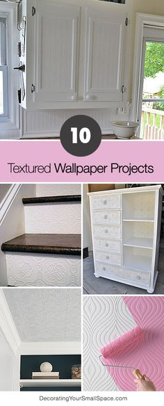 Diy Crafts Ideas : 10 Textured Wallpaper Projects Lots of great Ideas and Tutorials! Furniture Makeover, Diy Furniture, Furniture Projects, Diy Vintage, Diy Inspiration, Diy Décoration, Diy Crafts, Diy Home Improvement, My New Room