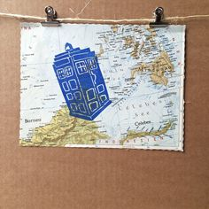 TARDIS  Doctor Who   vintage world map linocut