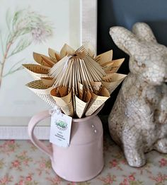 Karoo-Rosie Handmade Book Folding, Paper Folding, Giant Paper Flowers, Altered Books, Book Pages, Wedding Stationery, Paper Art, Origami, Projects To Try