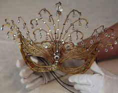 Masquerade: An fancy dress item worn by Princess Margaret in gold brocade, decorated with crystals Masquerade Wedding, Masquerade Theme, Venetian Masquerade, Venetian Masks, Gold Masquerade Mask, Masquerade Ball Gowns, Mascarilla Diy, Beautiful Mask, Carnival Masks