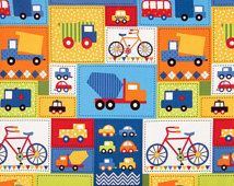 Primary Colored Bright Bicycles and Trucks Panel from Robert Kaufman Ready Set Go 2 Collection