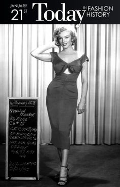 """I don't know who invented high heels, but all women owe him a lot."" Marilyn Monroe Today in 1953, everyone's favorite bombshell Marilyn Monroe starred in the film noir Niagara, and first appeared in her iconic, off-the-shoulder pink dress. The film's costume designer, Dorothy Jenkins, created the infamous dress to play up Marilyn's curvy frame."