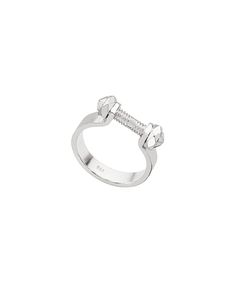 A bolt and bar sterling silver ring that adds an extra edge to your daily wardrobe. The sleek sterling silver finish adds to the hardware element of this everyday ring.