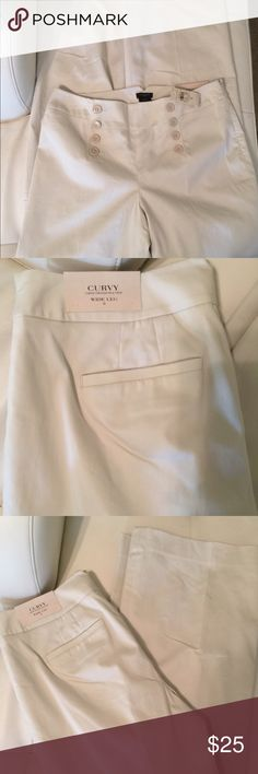 Ann Taylor wide leg pant. Sz 8 Tan colored front button slacks. Sz 8, has 11inch foot hole and 34 inch inseam. Brand new with tags Ann Taylor Pants Wide Leg