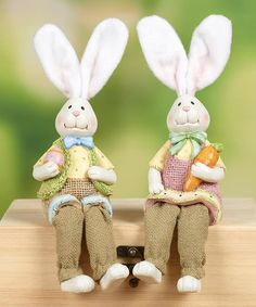 This Felt Ear Bunny Shelf Sitter Set by Transpac Imports is perfect! #zulilyfinds