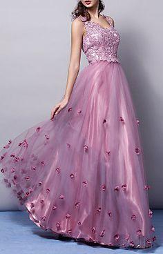 A-line|Princess V-neck Floor-length Tulle Evening Dress