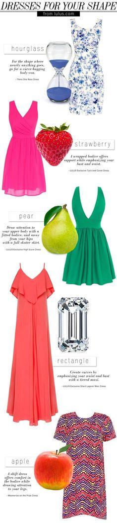 Which dress you should wear depending on your body shape. Vestidos de acuerdo a tu cuerpo #Body #Shape. Body Shape tutorial.