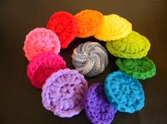 Scrubbies in all colors. I love these for cleaning my pots and pans, and even my stovetop! They get the scum off without scratching