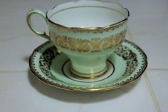 Vintage Paragon Tea Cup and Saucer Mint Green White Many Gold Accents