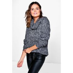 Boohoo Bethany Marl Cowl Neck Boucle Knit Jumper ($30) ❤ liked on Polyvore featuring tops, sweaters, charcoal, nordic sweater, party jumpers, marled knit sweater, boucle sweater and knit sweater
