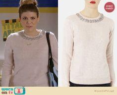 Sadie's pink embellished neck sweater on Awkward.  Outfit Details: http://wornontv.net/31189/ #Awkward