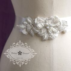 Beaded fabric belt, lovely accent to a classic #wedding dress