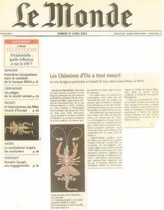 Le Monde 27 Avril 2002 Jewllery by on aura tout vu