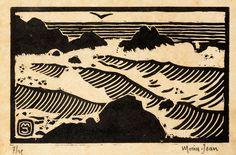 Morin-Jean (Jean-Alexis Joseph Morin, dit) (1877-1940) Les Vagues. Vers 1920. Bois gravé. 195 x 120. Belle épreuve sur vélin teinté ... | Piasa