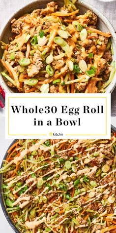 Whole 30 Egg roll In A Bowl - Cooking Recipes Vegetarian Egg Rolls, Healthy Egg Rolls, Whole 30 Vegetarian, Vegetarian Chili, Paleo Whole 30, 21 Day Fix Extreme, Easy Whole 30 Recipes, Whole Food Recipes, Dinner Recipes