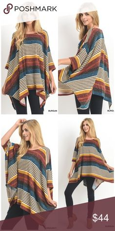 Burgundy Flowy Top Flowy Striped Top with 3/4 sleeves and asymmetrical hemline. Unlined. Non sheer. 95% rayon 5% spandex. Made in USA Tops