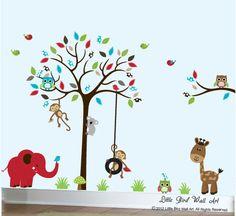 Nursery wall decals jungle wall sticker by Littlebirdwalldecals, $139.00